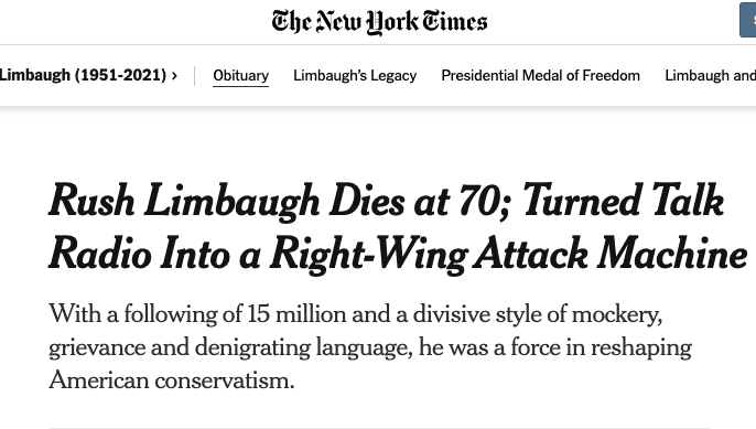 "NY Times blasted for handling of Limbaugh's death, writing he ""turned talk radio into a right-wing attack machine"""