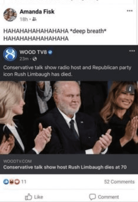 """Michigan village president under fire after """"laughing"""" at news of Limbaugh's death"""
