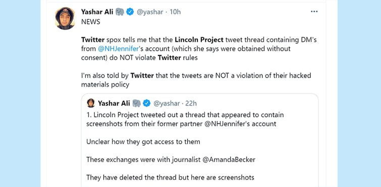 As Lincoln Project EXPLODES into TOXIC SHARDS, both MSNBC and Twitter say it's NO PROBLEMO for them