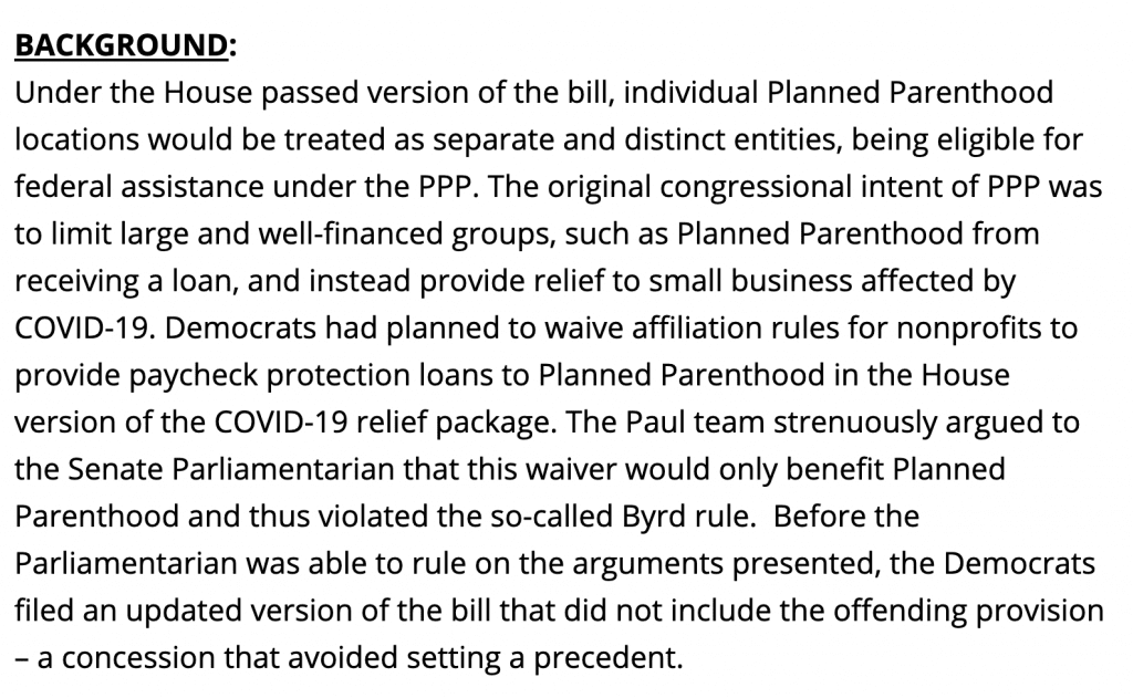 Rand Paul Stopped Dems from attempt to fund Planned Parenthood through PPP