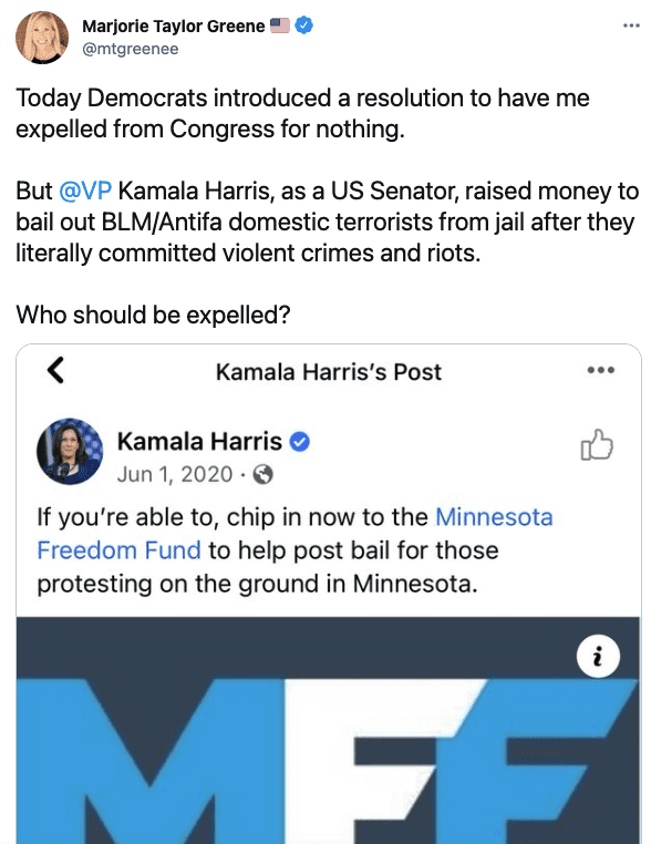 Greene flips the script, argues it's VP Harris who should be expelled, not her