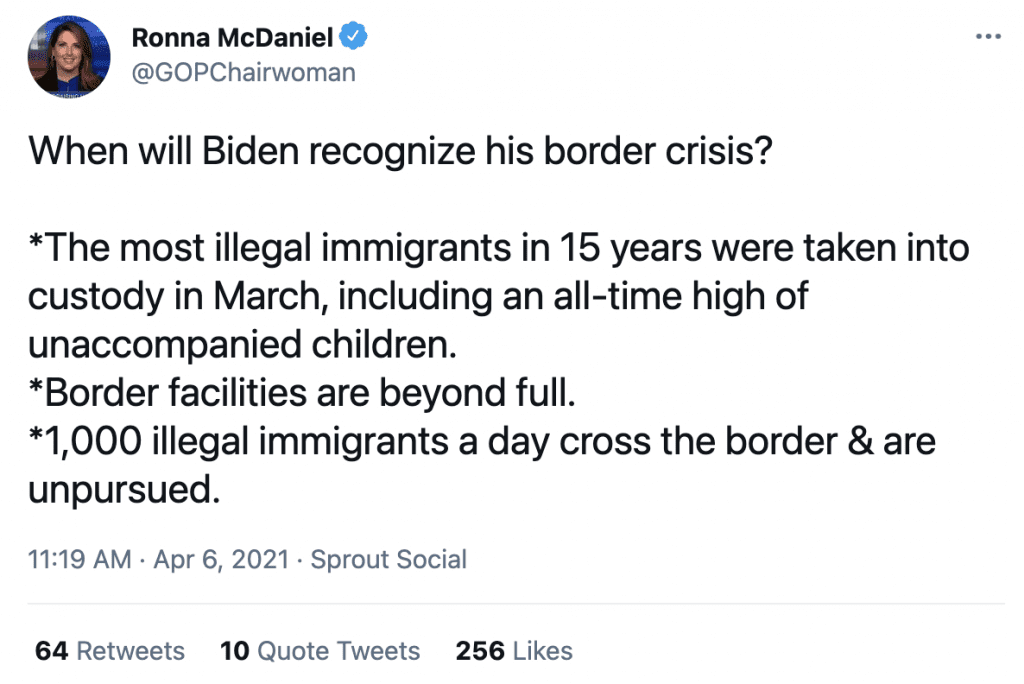 """Ronna McDaniel """"The most illegal immigrants in 15 years were taken into custody in March, including an all-time high of unaccompanied children"""""""