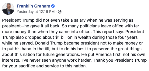 """Franklin Graham fires back at report Trump has fallen in rank among billionaires,"""" writes """"he put America first, not his own interests"""""""