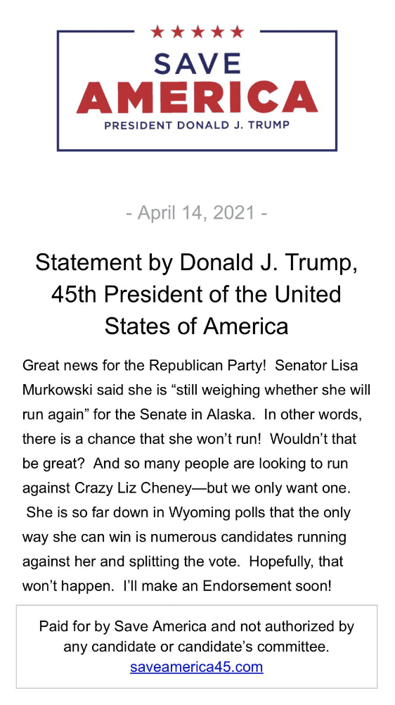 "Trump issues new statement mocking Murkowski ""There is a chance she won't run!"""