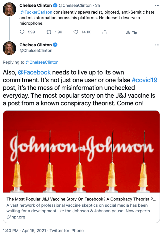 """BREAKING: Chelsea Clinton calls on Facebook to Ban Tucker Carlson, says """"he doesn't deserve a microphone."""""""