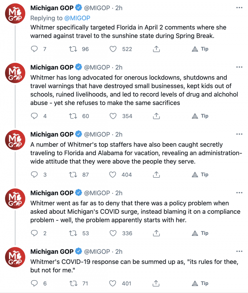 Michigan GOP says Whitmer vacationed to Florida during state's COVID-19 surge, despite telling Michiganders to stay home and avoid travel