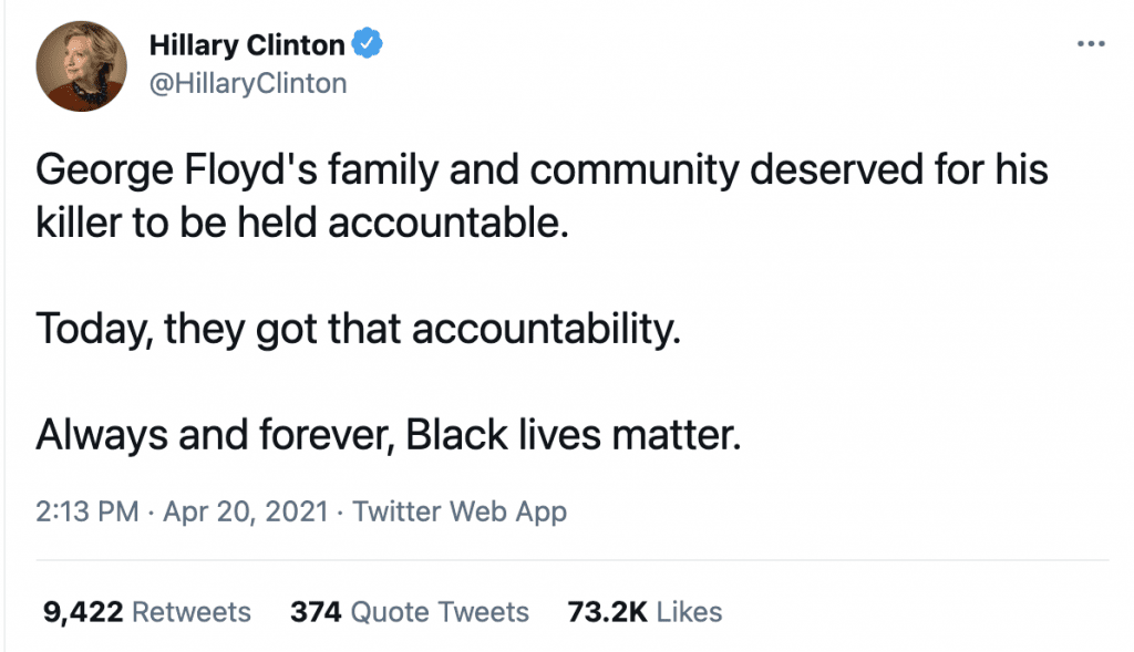 """Hillary reacts to Chauvin verdict, says """"Always and forever, Black lives matter"""""""