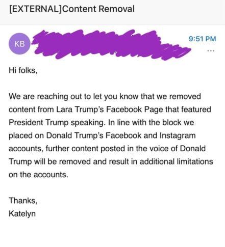 """Facebook swiftly REMOVES Lara Trump interview with President Trump because """"his voice is NOT allowed on platform"""" [FULL INTERVIEW]"""