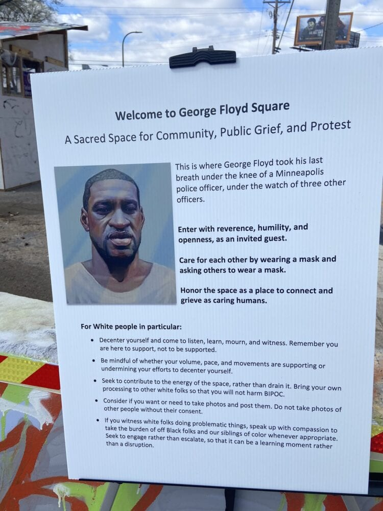 Sign gives WHITE people instructions on how to act when entering George Floyd Square in Minneapolis