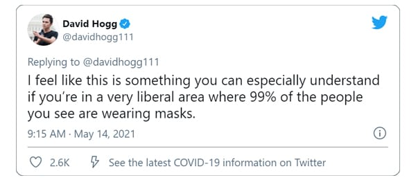 David Hogg exposes the TRUTH about MASKS!! Yes THAT David Hogg! No NOT on purpose!
