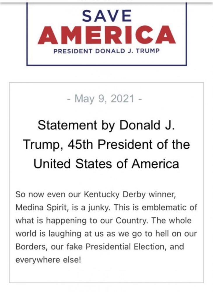 """Trump issues statement on Kentucky Derby Winner after drug test results, says """"This is emblematic of what is happening to our Country"""""""