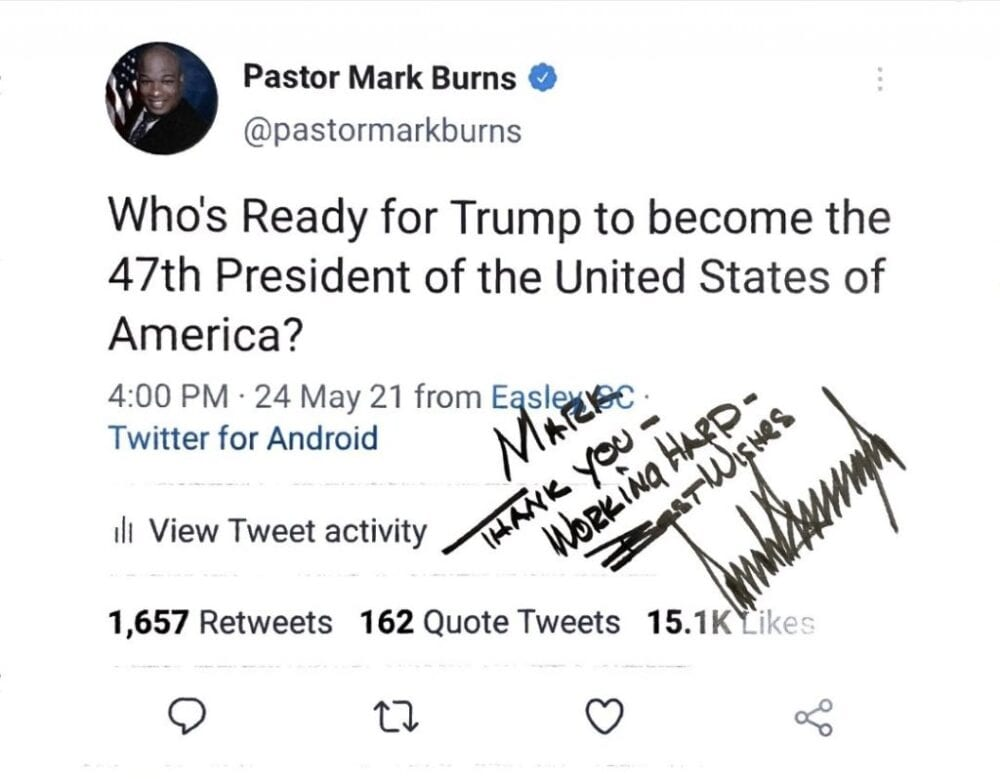 """Pastor Mark Burns """"President Trump printed off my tweet and sent it back to me. Mr. President, I'm humbled that you took the time to do that."""""""