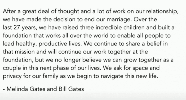 BREAKING: Bill and Melinda Gates issue statement announcing divorce after 27 years of marriage