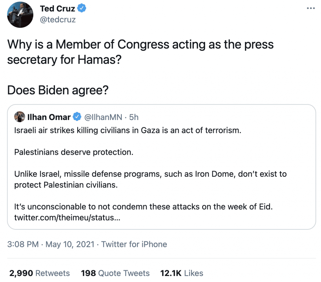 "Senator Cruz blasts Omar, asks ""Why is a Member of Congress acting as the press secretary for Hamas?"""