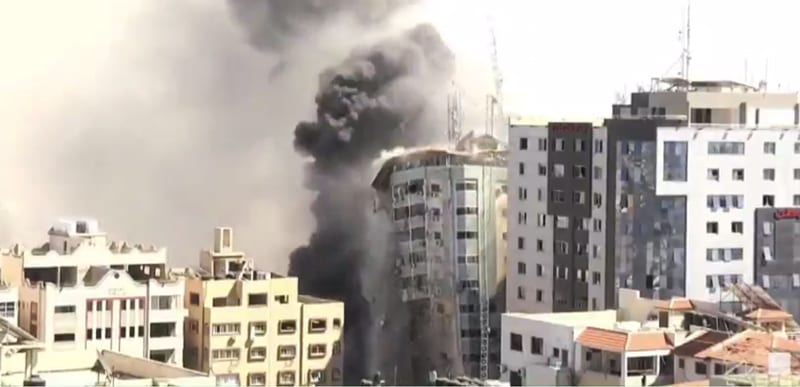 WATCH: The IDF strikes and LEVELS 12-story Al-Jalaa tower where Hamas was using MEDIA as SHIELD