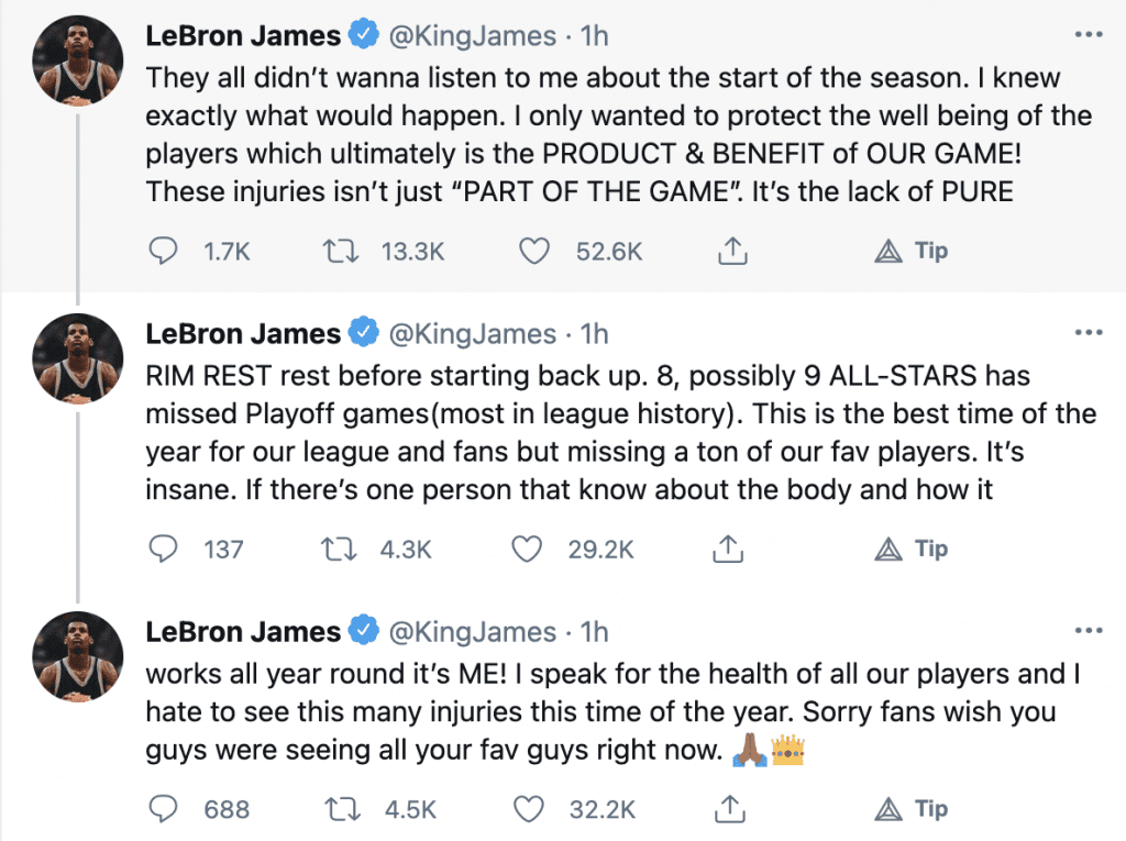 """LeBron blames NBA schedule for player's injuries """"They all didn't wanna listen to me about the start of the season"""""""