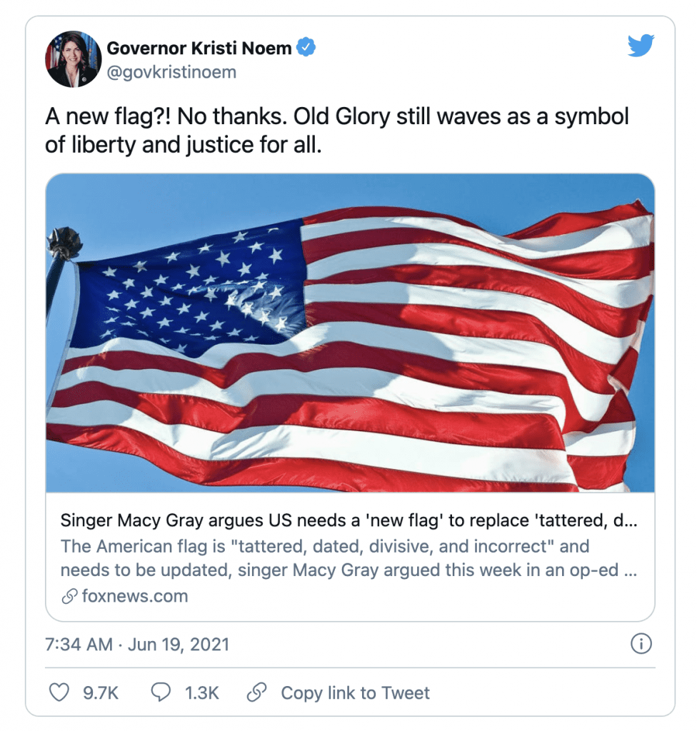 """""""No thanks."""" Noem fires back after Singer Macy Gray calls for the American Flag to be redesigned"""