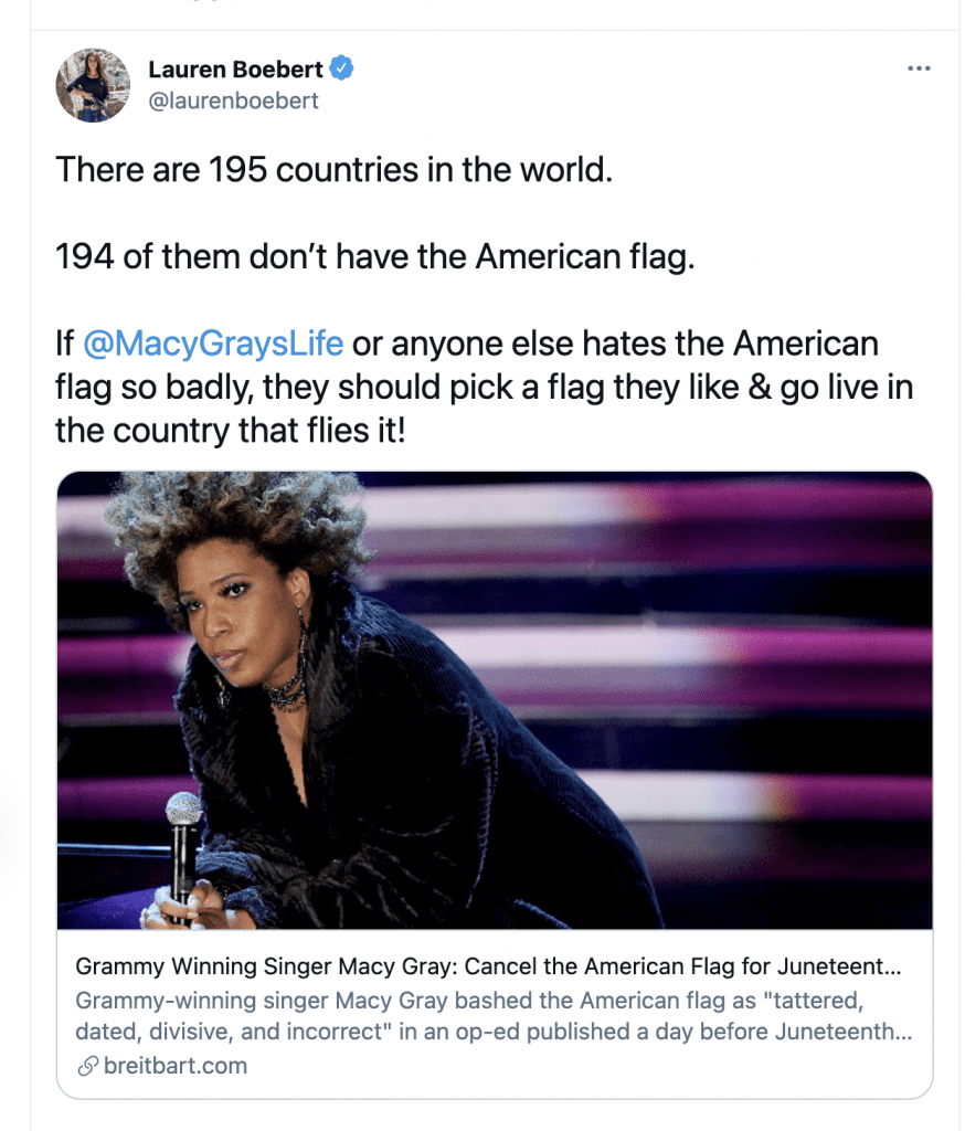 Boebert suggests Macy Gray leave the country after Gray calls for a new American Flag design