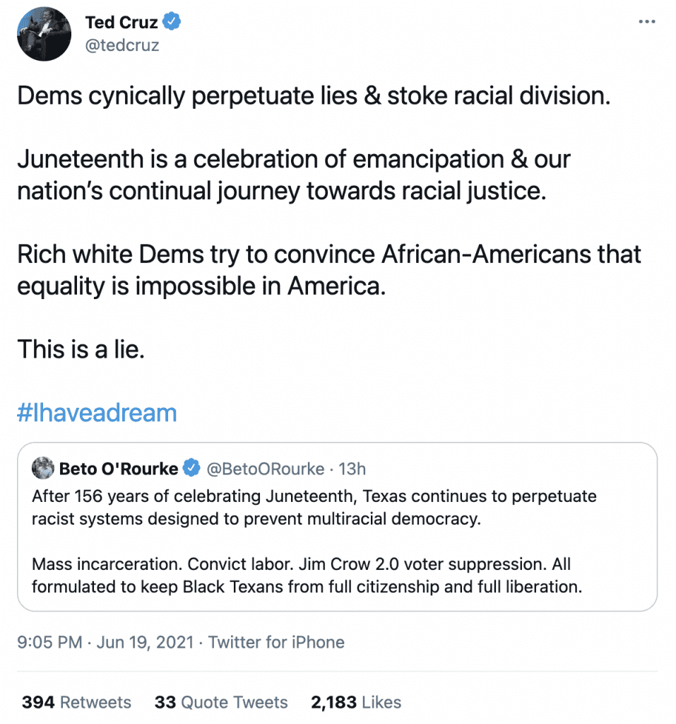 """Cruz fires back after Beto claims """"Texas continues to perpetuate racist systems designed to prevent multiracial democracy"""""""