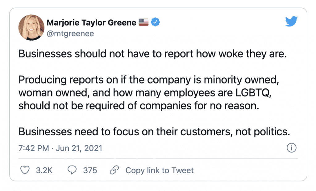"""Rep. Greene """"Businesses should not have to report how woke they are....Businesses need to focus on their customers, not politics"""""""