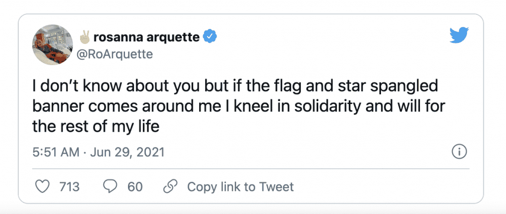 Rosanna Arquette just vowed she'll kneel for the flag and national anthem for life