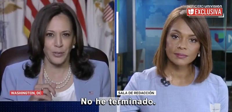 WATCH: Kamala gets snappy at Univision reporter asking when she was going to the border