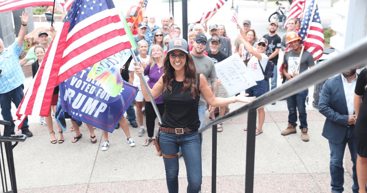 """Boebert """"The press said there would be protests outside our event yesterday, but instead these freedom-loving patriots were out there"""""""