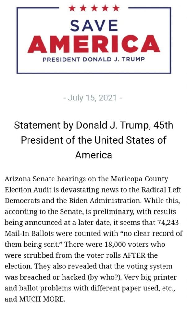 """Company conducting Arizona Audit finds """"no clear record"""" of 74,243 mail-in ballots being sent"""