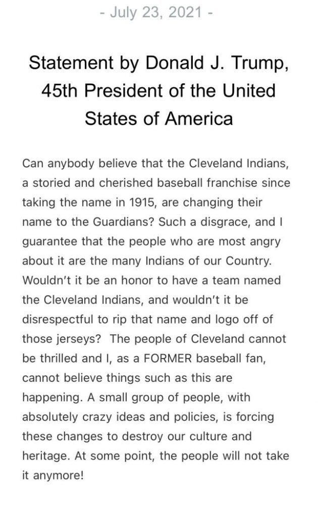 """Trump issues statement ripping the Cleveland Indians name change, calls it """"such a disgrace"""""""