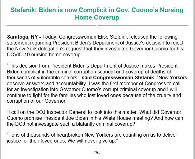Stefanik issues statement accusing Biden of being complicit in Gov. Cuomo's Nursing Home Cover Up