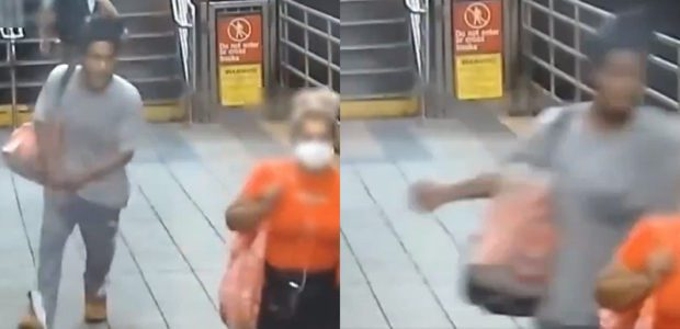 UNPROVOKED? Man SNEAKS up behind 60-year-old woman in NYC subway station and PUNCHES her.