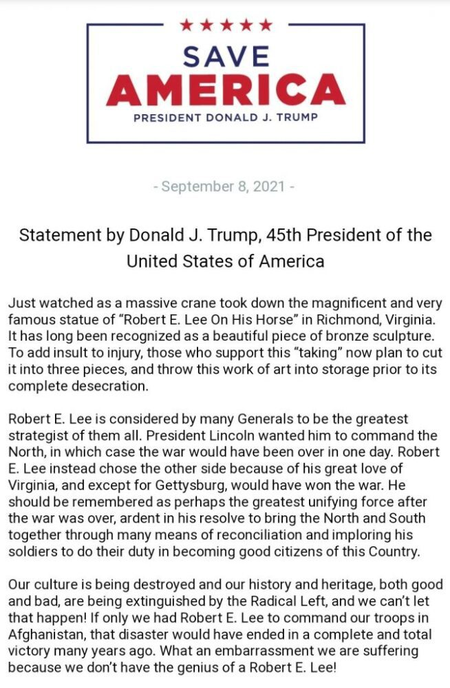 """Trump blasts removal of the Robert E. Lee Statue in Virginia """"Our culture is being destroyed and our history and heritage"""""""