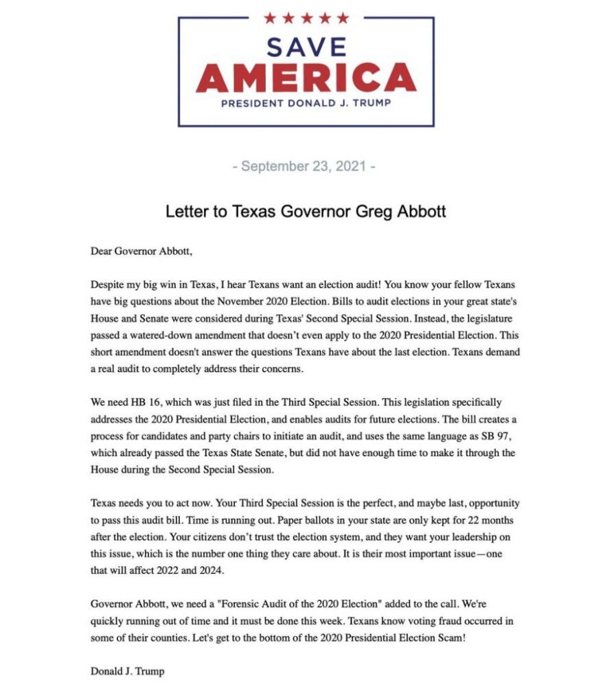 """Trump releases letter to Abbott calling for election audit, says """"Texas needs you to act now"""""""