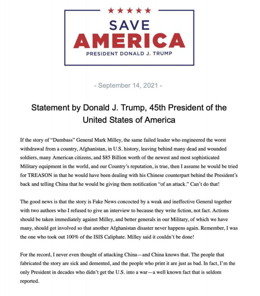"""Trump issues new statement on Gen. Milley controversy, calls him a """"dumbass"""""""