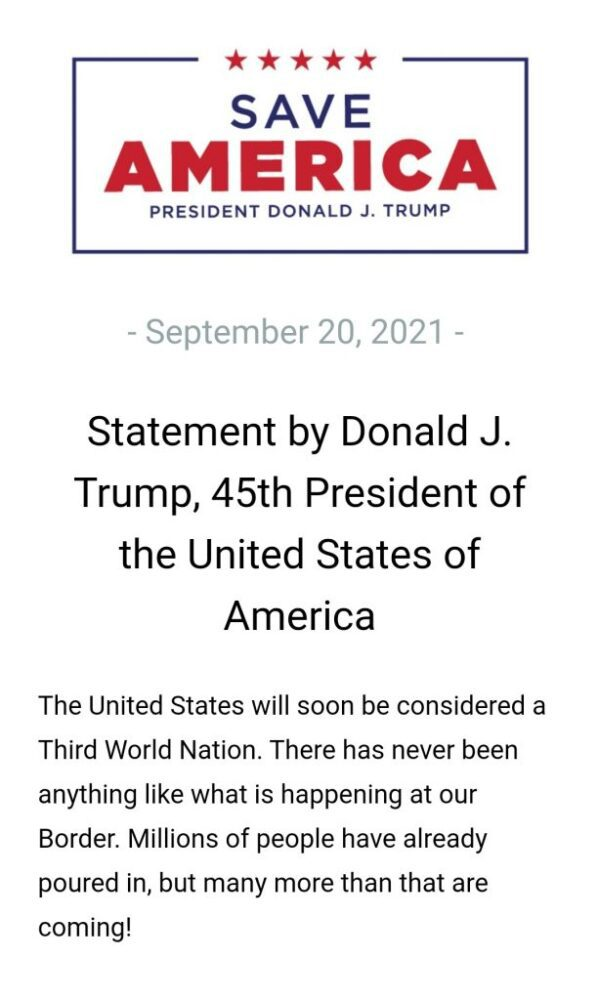 """Trump issues new statement reacting to border crisis, says """"The United States will soon be considered a Third World Nation."""""""