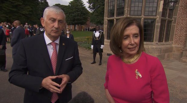 pelosi pelted with screams of  trump won  during her visit to the u k