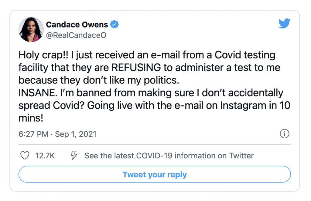 Candace Owens says she was refused a test at a COVID testing center due to her politics