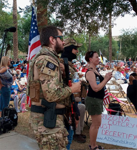 HUGE crowds, MILITIA, cops, SIGNS, more at Arizona capitol for AUDIT results. PICS and VIDEO