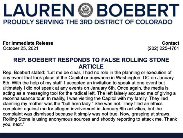 """Boebert fires back at report tying her to Jan 6th riot """"Let me be clear. I had no role in the planning or execution"""""""