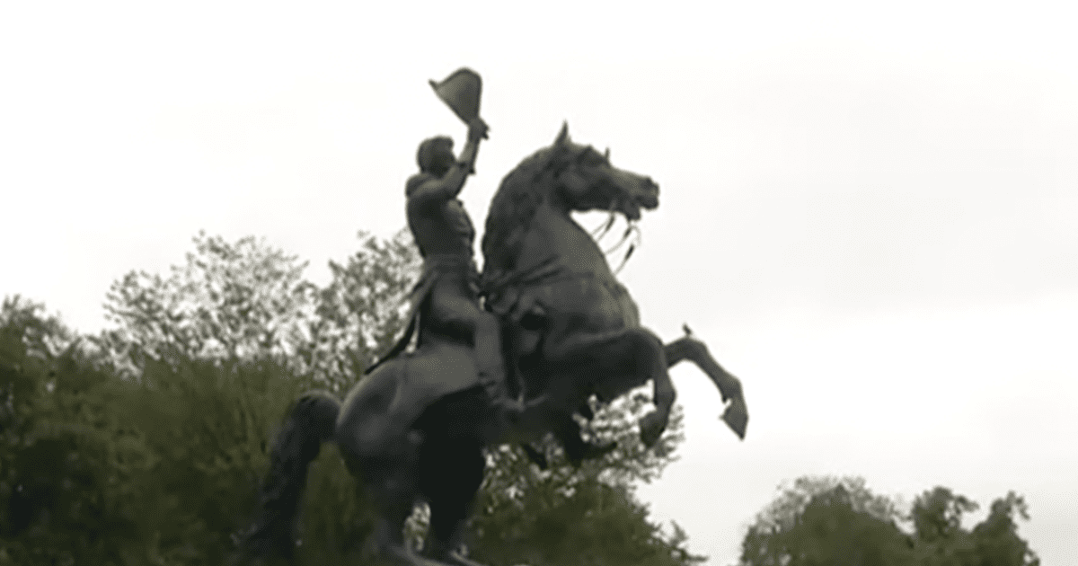 """PHOTOS: Andrew Jackson Statue in DC vandalized with red paint and the words """"EXPECT US"""""""